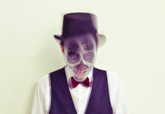 Man with calaveras makeup in motion Royalty Free Stock Images