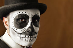 Man with calaveras makeup Royalty Free Stock Image
