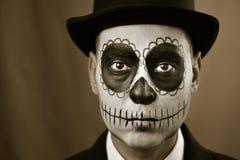 Man with calaveras makeup Stock Images