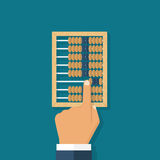 Man calculation in accounts. Old tool for calculations. Wooden abacus in the hands of men. Vector illustration flat design. Accounting concept Royalty Free Stock Image