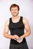 Man with calculator Stock Photo