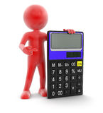 Man and Calculator (clipping path included) Stock Photos