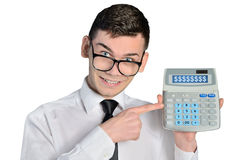 Man with calculator Royalty Free Stock Photography