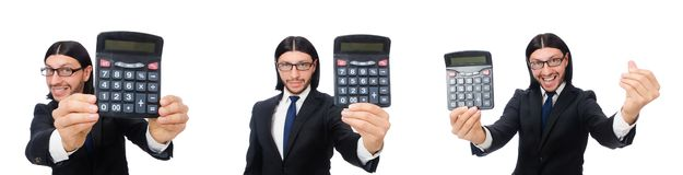 The man with calculator isolated on white. Man with calculator isolated on white royalty free stock photography