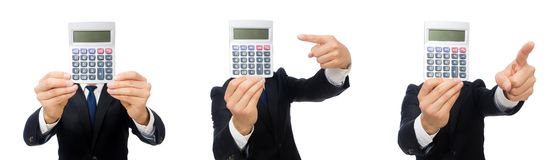 The man with calculator isolated on white. Man with calculator isolated on white royalty free stock photos