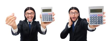 The man with calculator isolated on white. Man with calculator isolated on white royalty free stock images