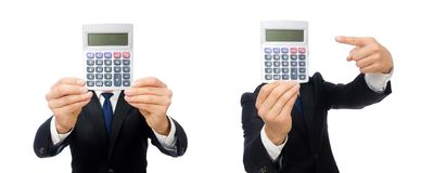 The man with calculator isolated on white. Man with calculator isolated on white stock image