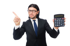 Man with calculator isolated on white Stock Image