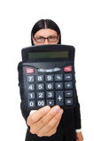 Man with calculator isolated on white Stock Images
