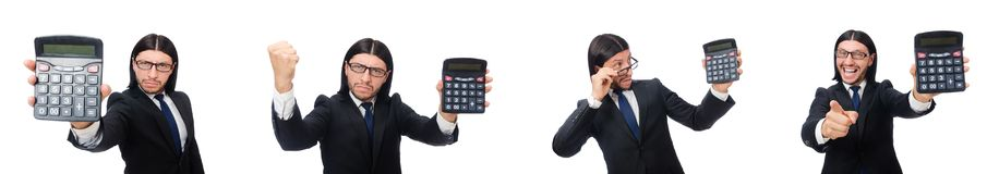 The man with calculator isolated on white. Man with calculator isolated on white stock photos