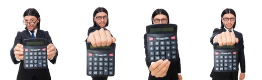 The man with calculator isolated on white. Man with calculator isolated on white royalty free stock photo