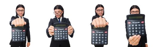 The man with calculator isolated on white. Man with calculator isolated on white stock photo