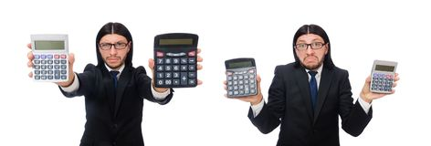 The man with calculator on white. Man with calculator on white stock photography