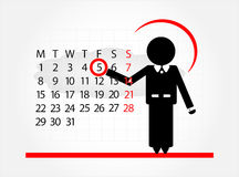 Man with calendar. On white background Royalty Free Stock Photography