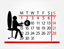 Man with calendar. On chair Stock Image