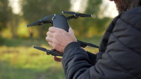 Man calibrates drone stock footage