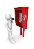 Man in call box Stock Image