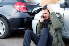 Man calling first aid after car crash. Accident Royalty Free Stock Photo
