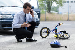 Man calling for help after road accident Royalty Free Stock Photo