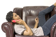 Man Calling His Friend Royalty Free Stock Photos