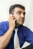 The man calling by phone. Conversation by phone Royalty Free Stock Photo