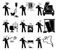 Man Calling with Phone for Household Problems Clipart. Calling for help services to plumber, electrician, car mechanic, computer technician, electronic Stock Photography