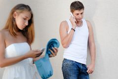 Man calling to his girlfriend Stock Image
