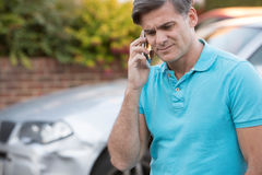 Man Calling To Report Car Accident Royalty Free Stock Photography