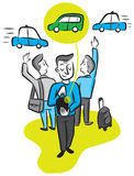 A man calls a car from his smartphone app Royalty Free Stock Image