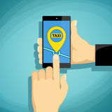Man calls taxi on a smartphone.  Stock Image