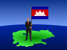 Man with Cambodian flag Stock Images