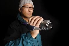 Man with camcorder Royalty Free Stock Photos