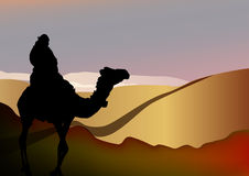 Man on a camel in the desert, vector design Stock Photo