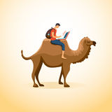 Man on a camel. A man travels on a camel with a laptop. Business and travel concept vector illustration