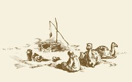 Man and camels at withered well in desert. Vector drawing. Tired trip old historic biblical nomad seat in barren hot wild asian Oman ground. hand drawn picture Royalty Free Stock Images