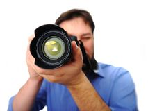 Man with camera Stock Photography