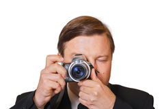 Man with camera. Isolated on white background royalty free stock images