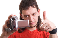 Man with camera. Showing on your Stock Photos