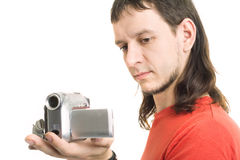 Man with camera. On white Stock Photography