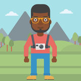 Man with camera on chest vector illustration. Royalty Free Stock Photography
