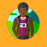 Man with camera on chest vector illustration. Royalty Free Stock Images