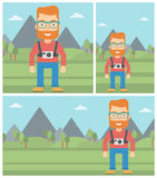 Man with camera on chest vector illustration. Royalty Free Stock Photos