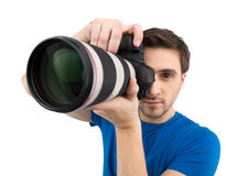 Man with camera. Royalty Free Stock Images