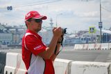Man with camera at Moscow City Racing Stock Photography
