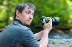 A man with a camera Stock Image