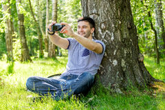 Man with camera Royalty Free Stock Images
