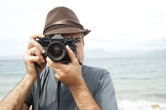 Man with camera Royalty Free Stock Photography