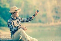 Man and camera Royalty Free Stock Photography