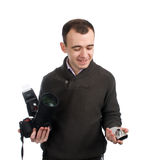 Man with cameras stock photography