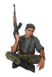 Man in camouflage with gun. Stock Photo